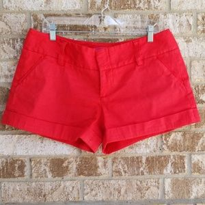 Alice + Olivia Red Cuffed Shorts Size 12